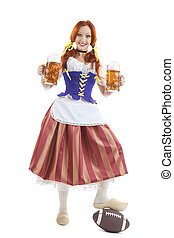 Happy Woman in Traditional Costume  Holding  a Beer Glass
