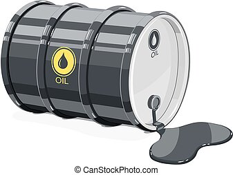 Black metal barrel for oil with spot.