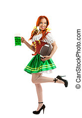 Happy Woman in Traditional Costume  Holding  a Beer Glass on White Space for Advertising