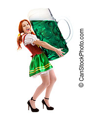 Happy Woman in Traditional Costume  Holding  a Giant Beer Glass