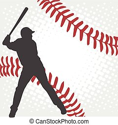 baseball player silhouette on the abstract background