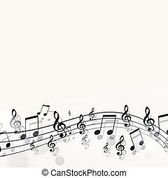 enkel, noteringen, musik