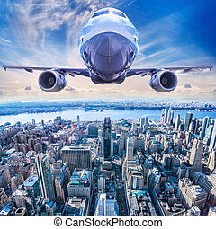 airliner - airplane in the sky above new york city
