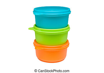 Set of bright plastic food container isolated