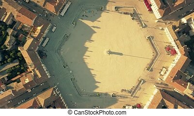Aerial top down view of the hexagonal square in the center...