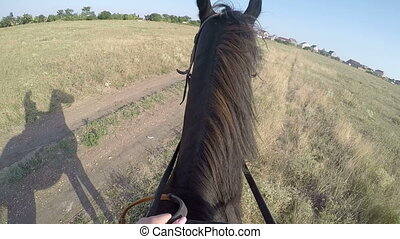 PoV: Young girl horseback rider riding horse on country...