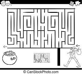 maze activity game with wanderer - Black and White Cartoon...