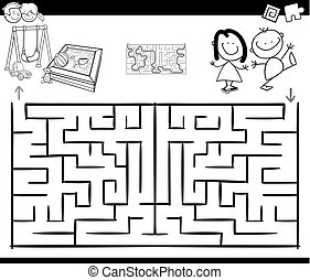 maze activity game with kids and playground - Black and...