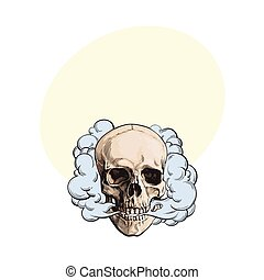 Smoke coming out of fleshless skull, death, mortal habit concept