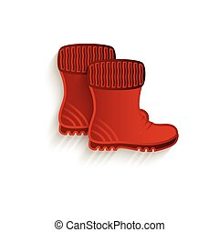 vector cartoon brown rubber boots isolated