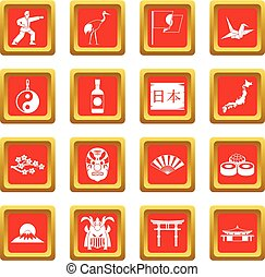 Japan icons set red