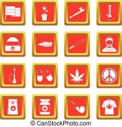 Set,  rastafarian, rood, iconen
