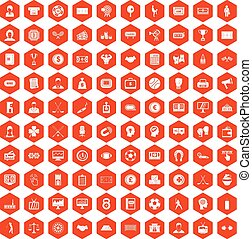 100 totalizator icons hexagon orange - 100 totalizator icons...