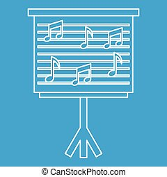Musical notes on stand icon, outline style - Musical notes...