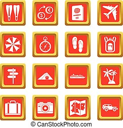 Travel icons set red