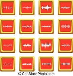 Sound wave icons set red