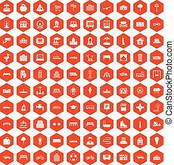 100 urban icons hexagon orange - 100 urban icons set in...