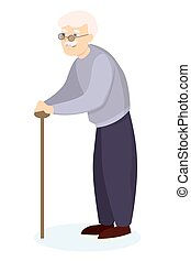 Grandfather with stick. - Isolated grandfather with stick on...