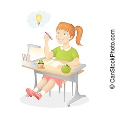 Girl does homework. Young smiling girl sitting at the desk.