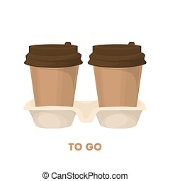 Coffee to go. Two cardboard takeaway cups with fresh hot...
