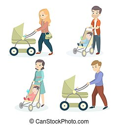 Parents with strollers.
