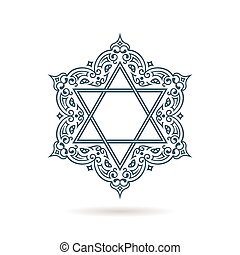 Star of David. Vector Jewish ornament. Blue icon on white background