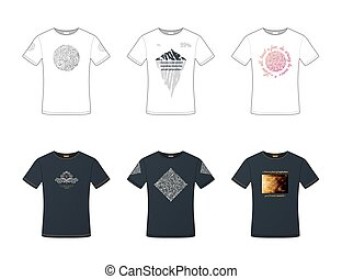 Unisex pattern t-shirts set. White and black male and female vector illustration.