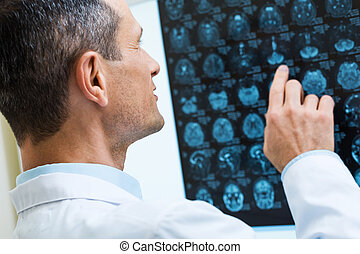 Male doctor looking through computer tomography results -...