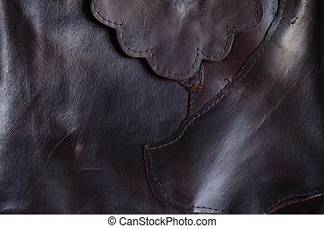 Surface of black leather.