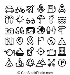 Travel line icons set, holidays, transportation minimalist design collection - big pack