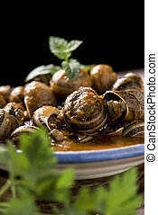 spanish caracoles en salsa, cooked snails in sauce - closeup...