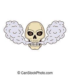 vector cartoon skull vaping isolated - vector cartoon skull...