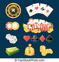 Cartoon icon collection of different games casino