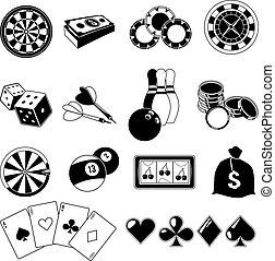 Gambling, card games, and different casino entertainments. Monochrome illustrations set. Vector silhouettes