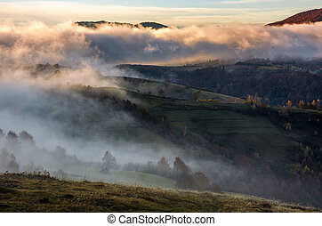 thick fog on hills in countryside at sunrise. gorgeous...