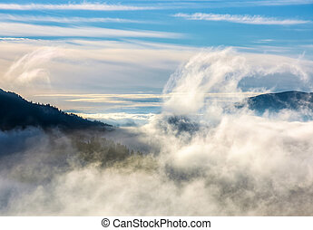 thick cloud formation rising from the valley - thick cloud...