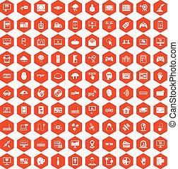 100 virtual icons hexagon orange - 100 virtual icons set in...