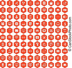 100 website icons hexagon orange - 100 website icons set in...