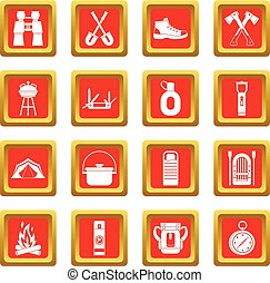 Recreation tourism icons set red