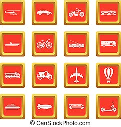 Transportation icons set red