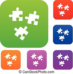 Puzzle set collection - Puzzle set icon in different colors...