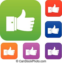 Thumb up gesture set collection - Thumb up gesture set icon...