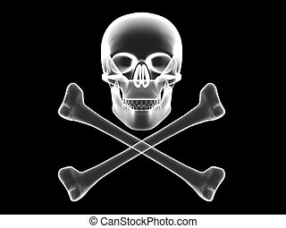 Skull and crossbones x-ray silhouette - Jolly Roger, skull...