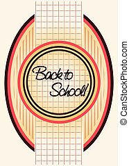Back to school background in old style, vector illustration