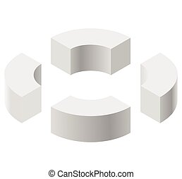 Arched shapes in isometric perspective, isolated on white background. Basic building blocks for creating abstract objects, background.
