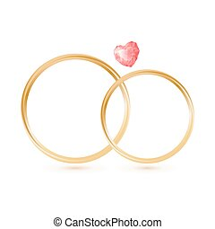 Isolted Wedding gold rings with gemstone heart shape