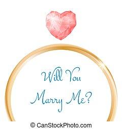 Vector engagement card. Will you marry me ring with heart shaped diamond