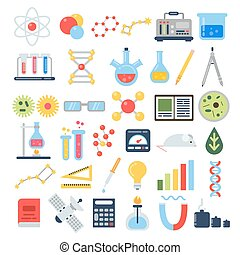 Scientific equipment for chemical testing. Science vector icon set