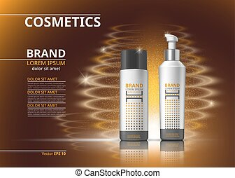 Digital Vector Realistic Cosmetics bottles for hair treatment or bodycare. Beauty products with logo label design package. 3d set collection on sparkling background