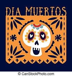 Dia de los Muertos greeting card, invitation. Mexican Day of...